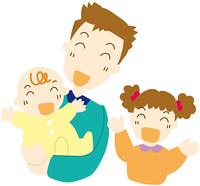 赤ちゃんをあやす父と娘