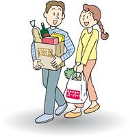 買い物をする夫婦