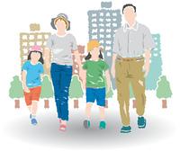 街を歩く親子