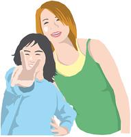 笑顔の母と娘