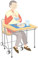 食事をする高齢の女性