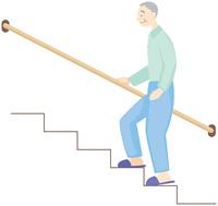 階段を上る高齢の男性