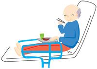 食事をする高齢の男性