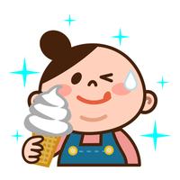 ソフトクリームを食べるメタボ女子