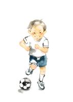 走る男の子、サッカー