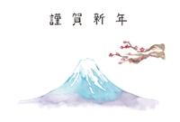 富士山、梅、謹賀新年