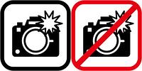 フラッシュ撮影と禁止のピクトグラム