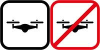 ドローンとドローン使用禁止のピクトグラム