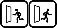 出口と入口のピクトグラム