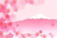 富士山 梅 年賀状 背景
