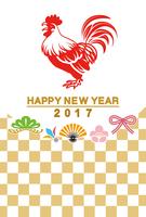 2017年 酉年年賀状 雄鶏と和風アイコン 市松模様
