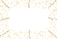 金色の紙吹雪とリボン