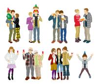 パーティー人物セット 多世代 冬