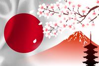 日本  国旗 富士山 桜