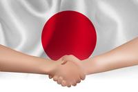 日本  国旗 手 握手