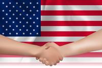 アメリカ  国旗 手 握手