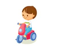 おもちゃのバイクと少年