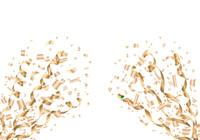 吹き出す金色の紙吹雪とリボン
