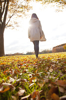 落ち葉の絨毯を歩く女性の後ろ姿