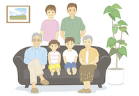 いすに座る6人家族