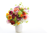 白バックに花瓶に入れた春の花のフラワーアレンジメント