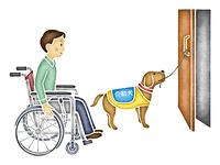 ドアを開ける介助犬
