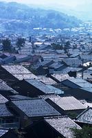 屋根瓦の重なる金沢の民家が連なる風景