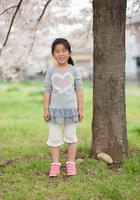 桜のお花見を楽しむ少女