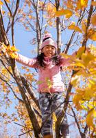 木登りを楽しむ少女
