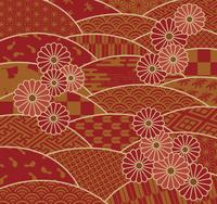 和の波模様と菊の花