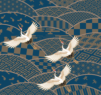 鶴と波の和風模様