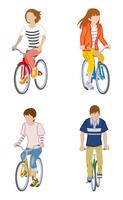 自転車に乗る人物 四人セット