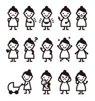 妊婦さん いろいろなポーズ表情の女性イラスト