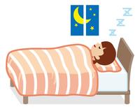 熟睡する女性 珊瑚色の寝具