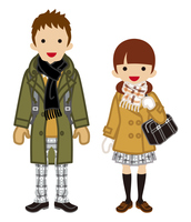 学生カップル 冬服 ツインテール