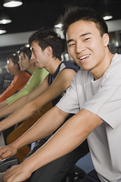 Chinese people using exercise equipment