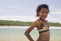African girl wearing bikini on beach