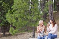 Caucasian woman sitting on log drinking wine