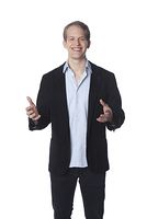 Caucasian man gesturing with hands