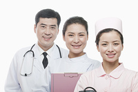 Smiling Chinese doctor and nurses