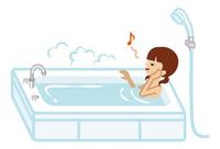 入浴する十代の少女 ツインテール