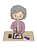 絵手紙を描く、高齢者