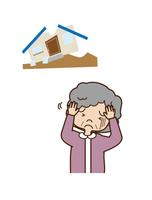 災害による住宅被害におびえる女性