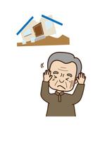 災害による住宅被害におびえる男性
