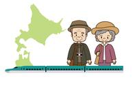 新幹線の旅をする老夫婦