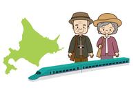 北海道旅行をするシニア夫婦