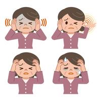 頭痛に悩むシニア女性のセット