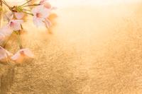 桜と金紙の背景
