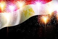 エジプト 花火  国旗 背景