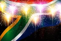 南アフリカ 花火  国旗 背景
